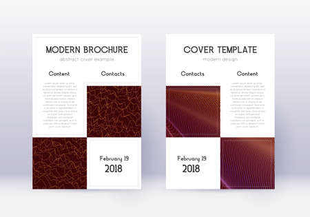 Business cover design template set. Orange abstract lines on wine red background. Artistic cover design. Sightly catalog, poster, book template etc. Vettoriali