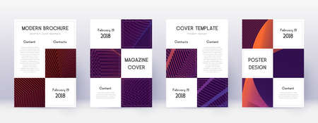 Business brochure design template set. Violet abstract lines on dark background. Alive brochure design. Ideal catalog, poster, book template etc.