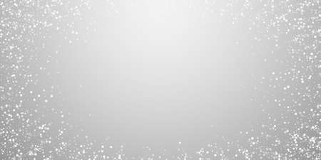 Random white dots Christmas background. Subtle flying snow flakes and stars on light grey background. Bewitching winter silver snowflake overlay template. Surprising vector illustration. Vettoriali