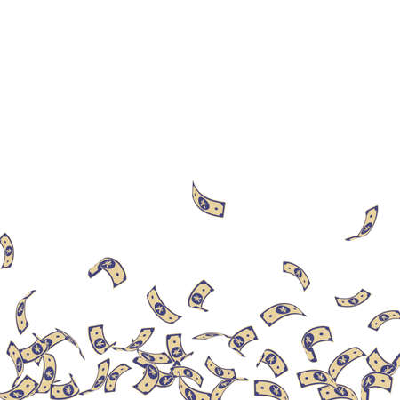 Chinese yuan notes falling. Sparse CNY bills on white background. China money. Ecstatic vector illustration. Great jackpot, wealth or success concept. Vettoriali