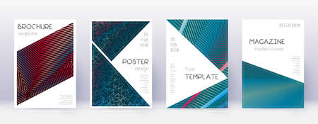 Triangle brochure design template set. Red abstract lines on white blue background. Breathtaking brochure design. Sublime catalog, poster, book template etc.