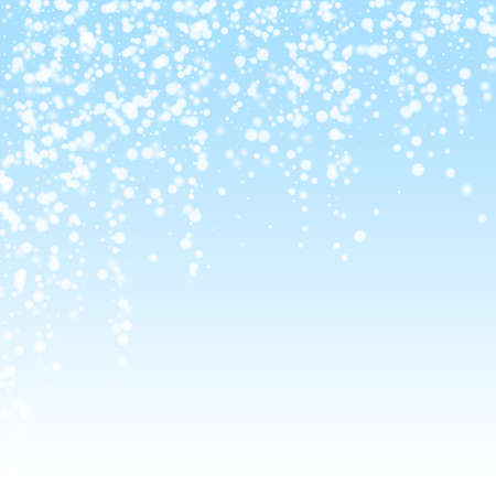 Beautiful falling snow Christmas background. Subtle flying snow flakes and stars on winter sky background. Awesome winter silver snowflake overlay template. Comely vector illustration.