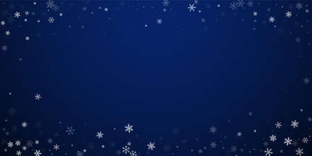 Sparse snowfall Christmas background. Subtle flying snow flakes and stars on dark blue night background. Bewitching winter silver snowflake overlay template. Exquisite vector illustration.