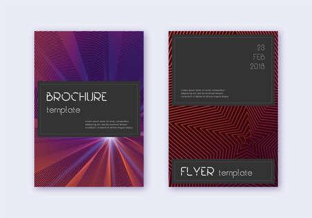 Black cover design template set. Violet abstract lines on dark background. Amusing cover design. Tempting catalog, poster, book template etc. Иллюстрация