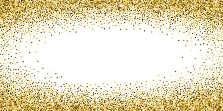 Gold glitter luxury sparkling confetti. Scattered small gold particles on white background. Extraordinary festive overlay template. Delicate vector illustration.