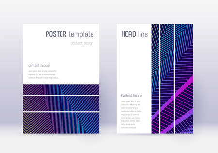 Geometric cover design template set. Rainbow abstract lines on dark blue background. Bewitching cover design. Worthy catalog, poster, book template etc.