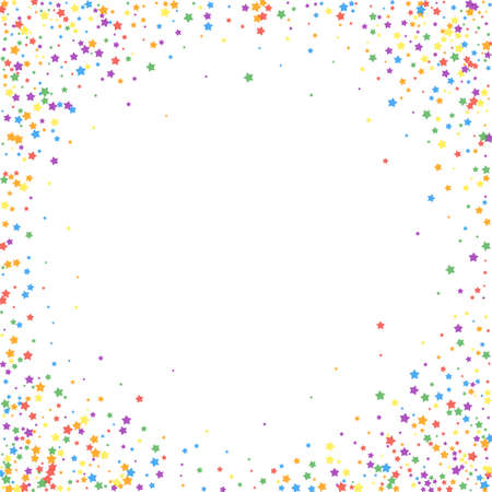 Festive confetti. Celebration stars. Rainbow bright stars on white background. Cool festive overlay template. Precious vector illustration.