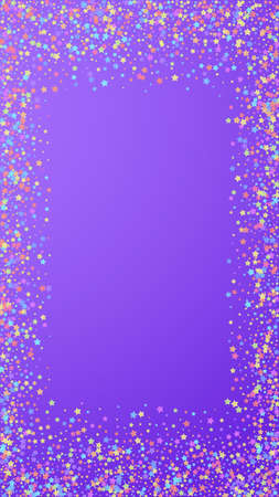 Festive captivating confetti. Celebration stars. Colorful stars dense on violet background. Graceful festive overlay template. Vertical vector background.
