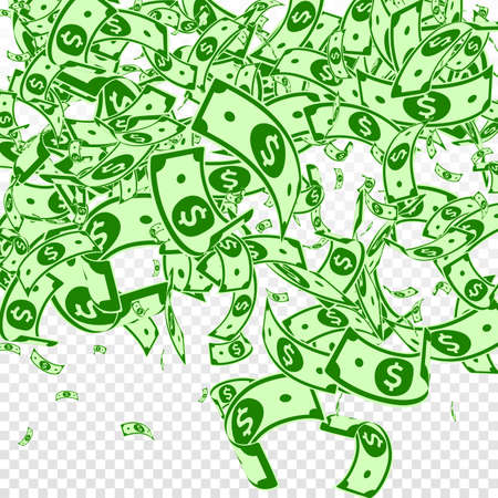 American dollar notes falling. Messy USD bills on transparent background. USA money. Creative vector illustration. Original jackpot, wealth or success concept. Vettoriali