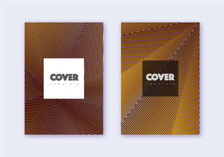 Hipster cover design template set. Gold abstract lines on maroon background. Cool cover design. Alluring catalog, poster, book template etc.