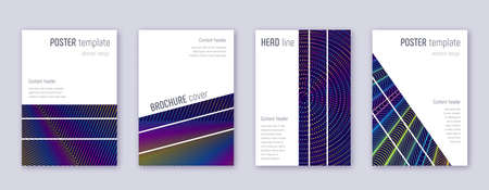 Geometric brochure design template set. Rainbow abstract lines on dark blue background. Alluring brochure design. Incredible catalog, poster, book template etc.