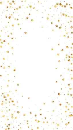 Gold stars random luxury sparkling confetti. Scattered small gold particles on white background. Divine festive overlay template. Terrific vector background.