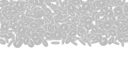 European Union Euro coins falling. Scattered black and white EUR big coins. Jackpot or success concept. Perfect wide top gradient vector illustration.