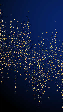 Gold stars luxury sparkling confetti. Scattered small gold particles on dark blue background. Eminent festive overlay template. Classic vector background.