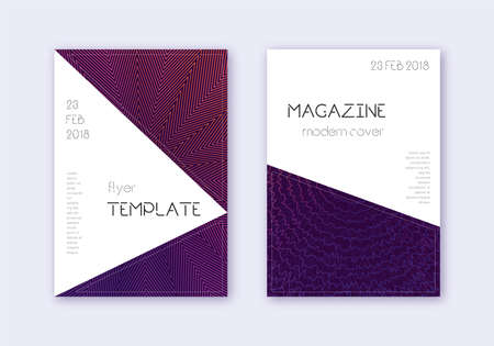 Triangle cover design template set. Violet abstract lines on dark background. Interesting cover design. Astonishing catalog, poster, book template etc. Illusztráció