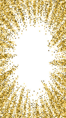 Gold glitter luxury sparkling confetti. Scattered small gold particles on white background. Dramatic festive overlay template. Bizarre vector background.