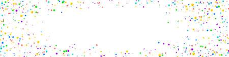 Festive gorgeous confetti. Celebration stars. Bright confetti on white background. Amazing festive overlay template. Panoramic vector background.