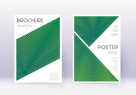 Triangle cover design template set. Green abstract lines on dark background. Ideal cover design. Curious catalog, poster, book template etc. Illusztráció
