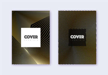 Hipster cover design template set. Gold abstract lines on black background. Comely cover design. Fine catalog, poster, book template etc.