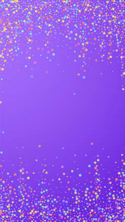 Festive bewitching confetti. Celebration stars. Colorful stars on violet background. Good-looking festive overlay template. Vertical vector background.