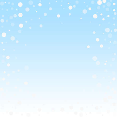 White dots Christmas background. Subtle flying snow flakes and stars on winter sky background. Beauteous winter silver snowflake overlay template. Beautiful vector illustration. Illusztráció
