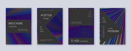 Black brochure design template set. Rainbow abstract lines on dark blue background. Admirable brochure design. Alive catalog, poster, book template etc.