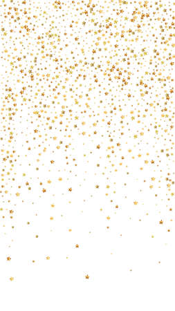 Gold stars luxury sparkling confetti. Scattered small gold particles on white background. Enchanting festive overlay template. Actual vector background.