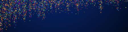 Festive captivating confetti. Celebration stars. Childish bright stars on dark blue background. Admirable festive overlay template. Panoramic vector background.