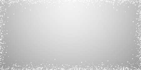 Magic stars sparse Christmas background. Subtle flying snow flakes and stars on light grey background. Awesome winter silver snowflake overlay template. Unusual vector illustration. Illusztráció