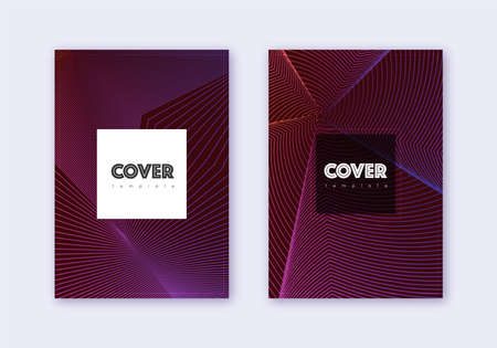 Hipster cover design template set. Violet abstract lines on dark background. Curious cover design. Magnificent catalog, poster, book template etc.