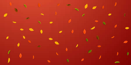 Falling autumn leaves. Red, yellow, green, brown random leaves flying. Falling rain colorful foliage on lively red background. Captivating back to school sale. Illusztráció