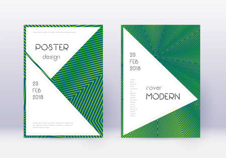 Stylish cover design template set. Green abstract lines on dark background. Fancy cover design. Energetic catalog, poster, book template etc.