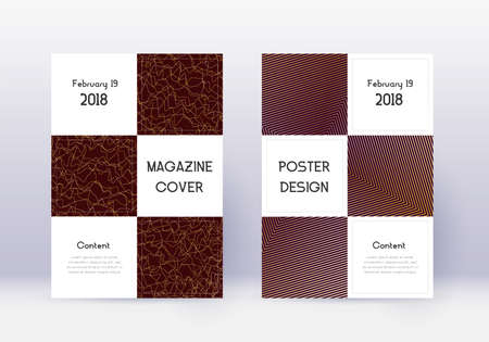 Business cover design template set. Gold abstract lines on maroon background. Authentic cover design. Actual catalog, poster, book template etc.