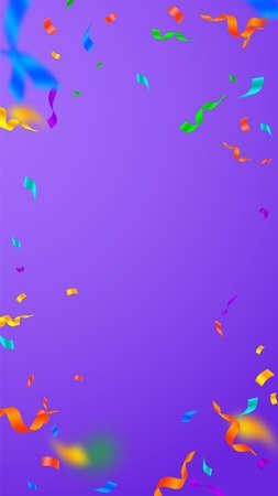 Streamers and confetti. Festive streamers tinsel and foil ribbons. Confetti vignette on violet background. Beauteous party overlay template. Quaint celebration concept. Illusztráció