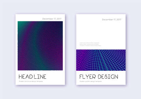 Minimal cover design template set. Neon abstract lines on dark blue background. Delightful cover design. Positive catalog, poster, book template etc. Illusztráció