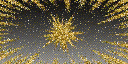 Round gold glitter luxury sparkling confetti. Scattered small gold particles on transparent background. Attractive festive overlay template. Classy vector illustration. Illusztráció