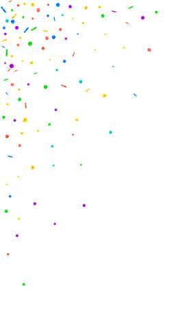 Festive sublime confetti. Celebration stars. Festive confetti on white background. Fine festive overlay template. Vertical vector background. Çizim