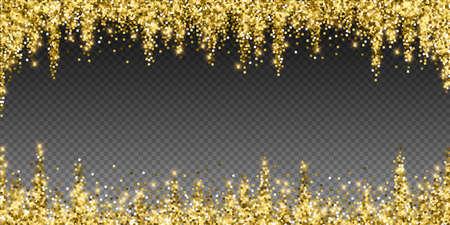 Sparkling gold luxury sparkling confetti. Scattered small gold particles on trasparent background. Alive festive overlay template. Outstanding vector illustration. Ilustração Vetorial