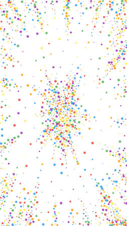Festive modern confetti. Celebration stars. Rainbow confetti on white background. Flawless festive overlay template. Vertical vector background.