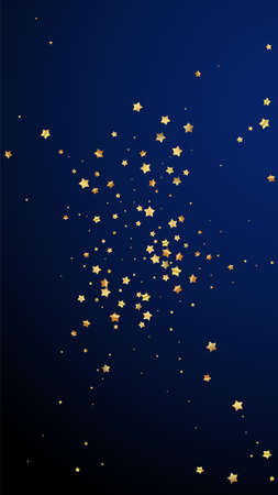 Gold stars random luxury sparkling confetti. Scattered small gold particles on dark blue background. Elegant festive overlay template. Optimal vector background.
