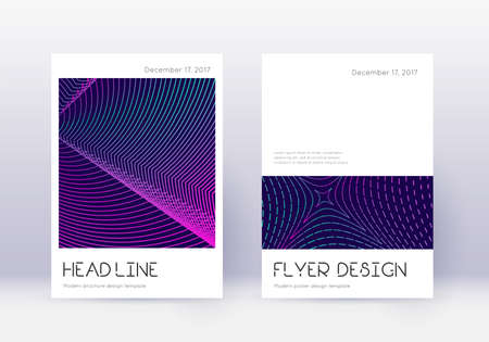 Minimal cover design template set. Neon abstract lines on dark blue background. Delightful cover design. Ideal catalog, poster, book template etc.