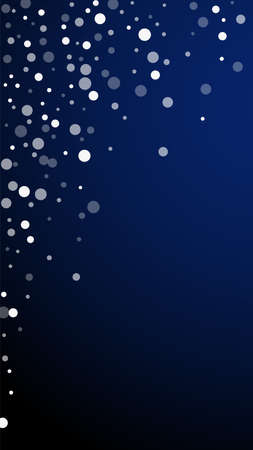 White dots Christmas background. Subtle flying snow flakes and stars on dark blue background. Alive winter silver snowflake overlay template. Original vertical illustration.