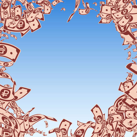 Russian ruble notes falling. Messy RUB bills on blue sky background. Russia money. Bewitching vector illustration. Immaculate jackpot, wealth or success concept. Illusztráció