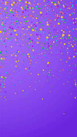 Festive appealing confetti. Celebration stars. Bright confetti on violet background. Gorgeous festive overlay template. Vertical vector background.