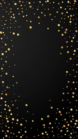 Festive authentic confetti. Celebration stars. Sparse gold confetti on black background. Favorable festive overlay template. Vertical vector background. Illusztráció