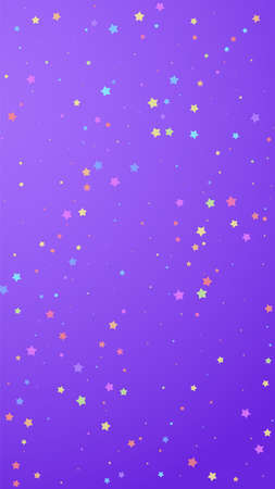 Festive sightly confetti. Celebration stars. Colorful stars random on violet background. Good-looking festive overlay template. Vertical vector background.
