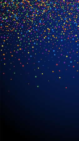 Festive optimal confetti. Celebration stars. Rainbow confetti on dark blue background. Great festive overlay template. Vertical vector background.
