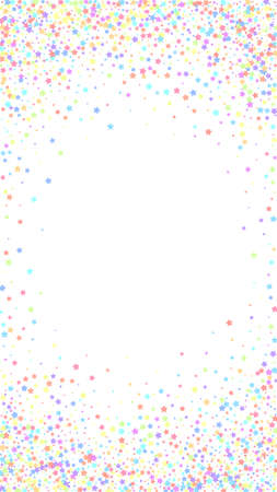 Festive decent confetti. Celebration stars. Colorful stars dense on white background. Fetching festive overlay template. Vertical vector background.
