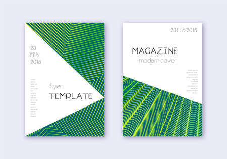 Triangle cover design template set. Green abstract lines on dark background. Impressive cover design. Ravishing catalog, poster, book template etc.