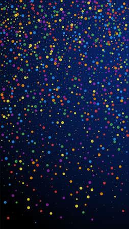 Festive beautiful confetti. Celebration stars. Colorful confetti on dark blue background. Ideal festive overlay template. Vertical vector background.